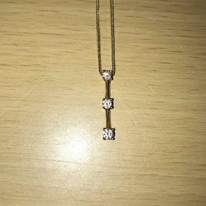 "Diamond Necklace 16"" Chain with 3 diamond pendant"
